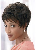 Short Layered Pixie Synthetic Hair Capless Wigs 8 Inches