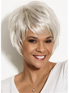 Pixie Human Hair Straight Wig With Razor Cut Layers 10 Inches