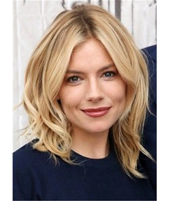 Sienna Siller Middle Part Bob Wavy Synthetic Hair Cut Wig 14 Inches