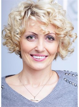 Short Synthetic Blonde Curly Wig For Middle Age Women