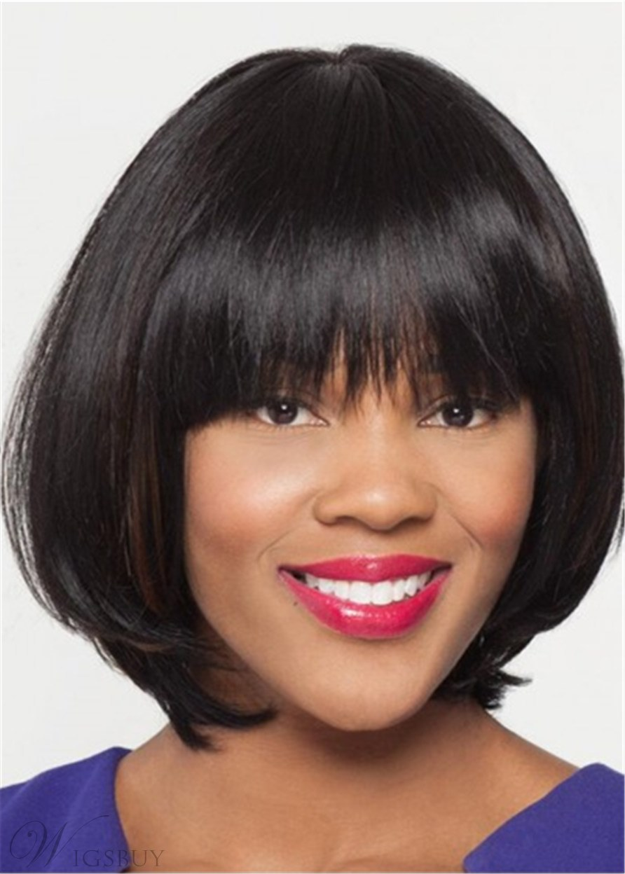 Mid-Length Bob Wig With Straight Synthetic Hair Blunt Bangs