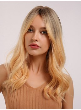 Light Color Wigs Long Wavy Synthetic Hair Women Wig 20 Inches