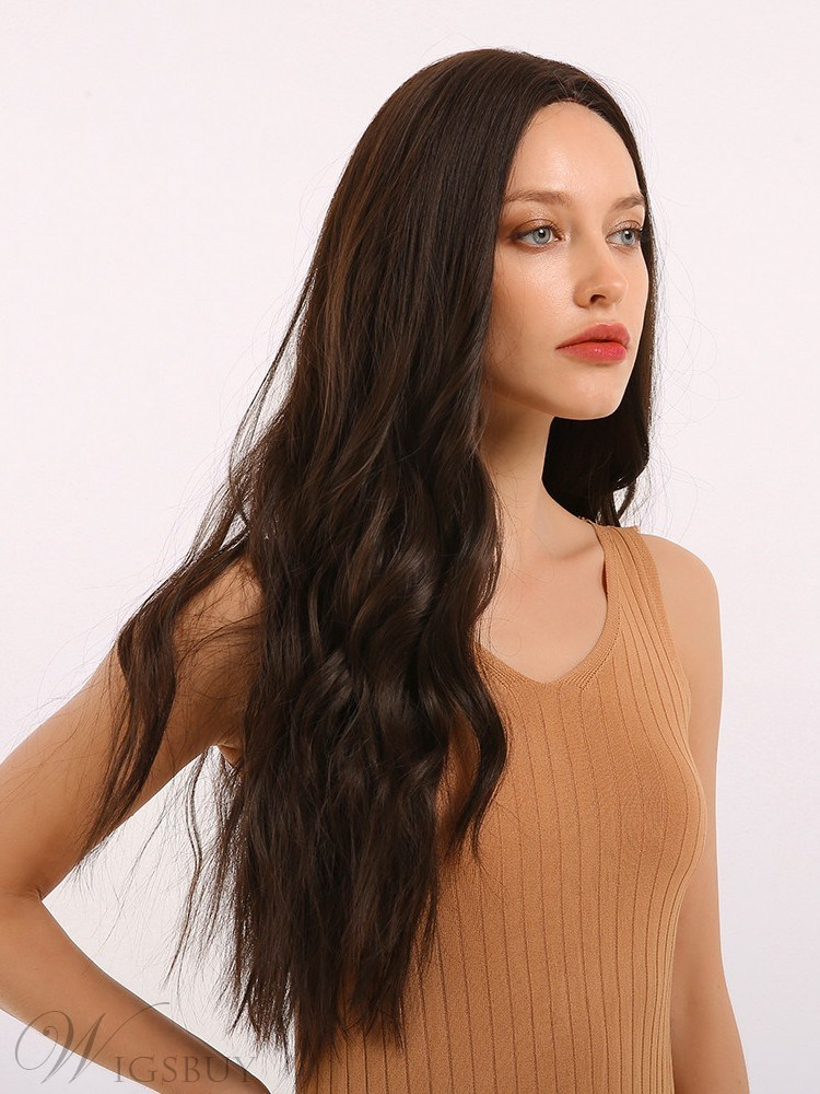 Women's Middle Part Long Wavy Synthetic Hair Wig 26 Inches