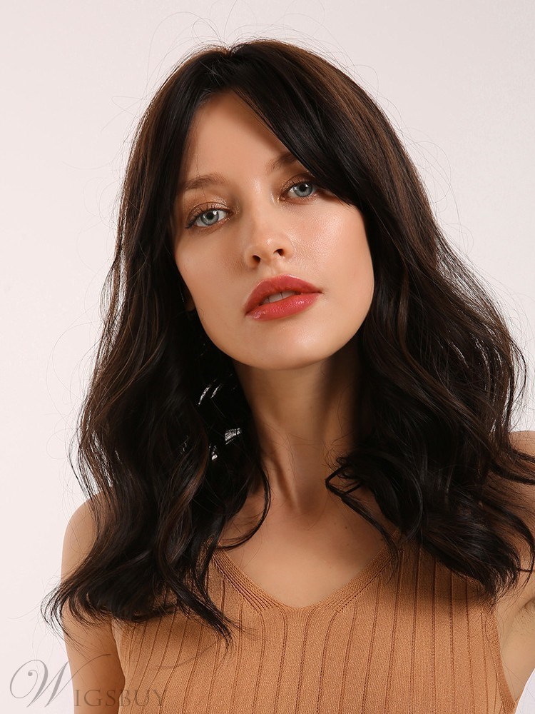 Long Wavy Synthetic Hair Women Wig With Bangs 20 Inches