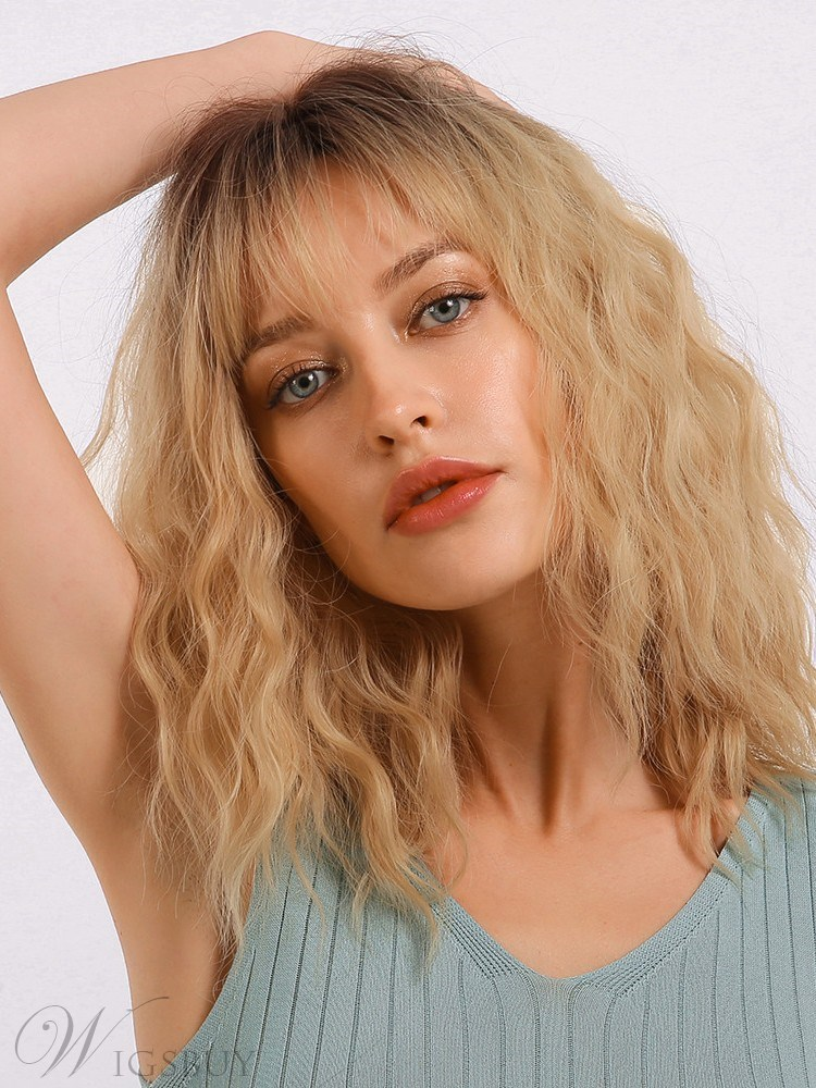 Long Bob Light Color Wavy Synthetic Hair Women Wig With Bangs 18 Inches