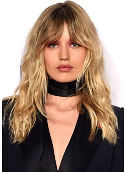 Women's Long Layered Haircuts with Bangs Wavy Human Hair Wigs Lace Front Cap Wigs 20Inch
