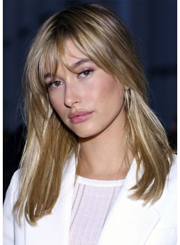 Medium Length Hairstyles with Bangs Women's Natural Straight Human Hair Lace Front Cap Wigs 18Inch
