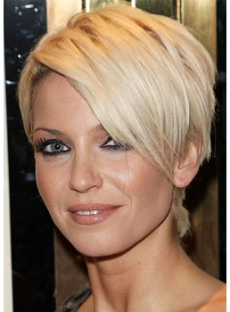 Women's Pixie Cut Short Hairstyles with Bangs Straight Synthetic Hair Capless Wigs 6Inch