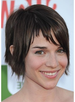 Short Choppy Hairstyles Women's Straight Human Hair Wigs With Bangs Lace Front Wigs 8Inch