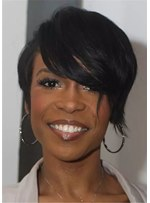 Pixie Bob Natural Straight Human Hair With Dramatic Bangs For African American Wigs
