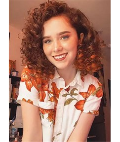 Long Bob Kinky Curly Synthetic Hair Women Wig 16 Inches