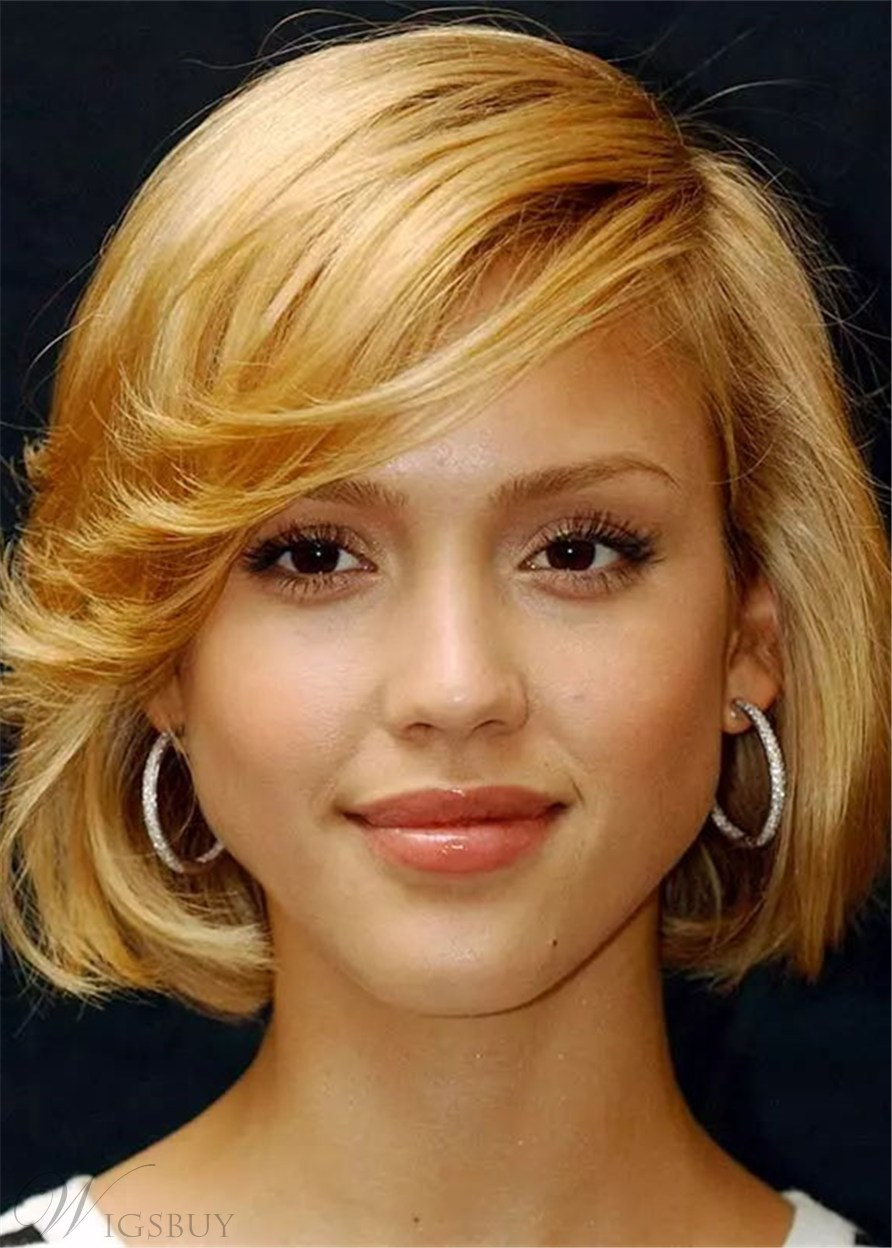 Women's Wavy Bob Hairstyles Human Hair Wigs For Oval Faces 14 Inches