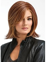 Sexy Women Medium Hairstyle Side Part Straight Synthetic Hair Capless Wigs 12Inch
