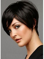 Women's Short Choppy Hairstyles Straight Human Hair Wigs With Bangs Lace Front Cap Wigs 8Inch