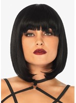 Women's Short Bob Hairstyle Straight Human Hair Wig With Bangs Capless Wigs 10Inch