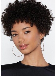 African American Women's Short Afro Curly Human Hair Lace Front Cap Wig 8Inch
