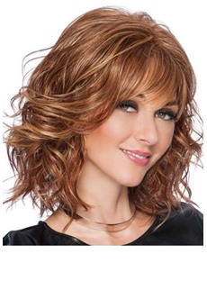 Natural Looking Women's Medium Hairstyle Wavy Human Hair Lace Front Wigs With Bangs 16Inch