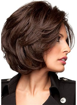 Short Layered Hairstyles Human Hair Wavy Bob Wig 12 Inches