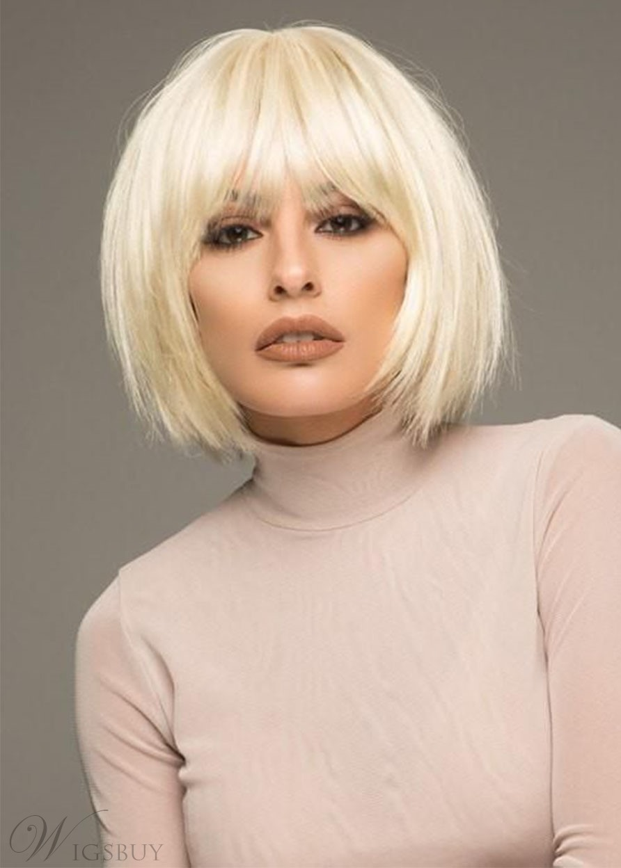 Short Bob Hairstyle Women's 613 Blonde Straight Human Hair Lace Front Wigs With Bangs 10Inch