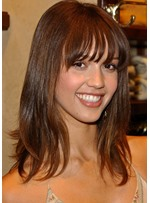 Women's Shoulder Length Bangs Hairstyle Straight Human Hair Lace Front Wigs 16Inch