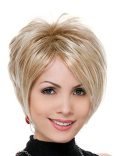Natural Looking Women's Side Part Straight Synthetic Hair Wigs Short Layered Hairstyle Capless Wigs 8Inch