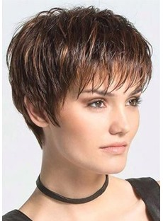 Women's Pixie Cut Boy Cut Hairstyle Straight Synthetic Hair Wigs With Bangs Capless Wigs 6Inch