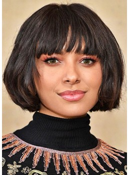 Women's Straight Human Hair Wigs With Bangs Short Bob Hairstyle Lace Front Wigs 10Inch