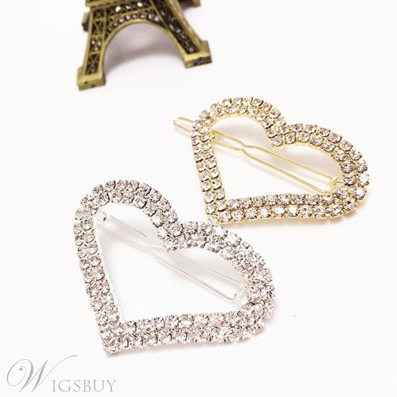 Heart-Shaped Rhinestone Hair Accessories Barrette
