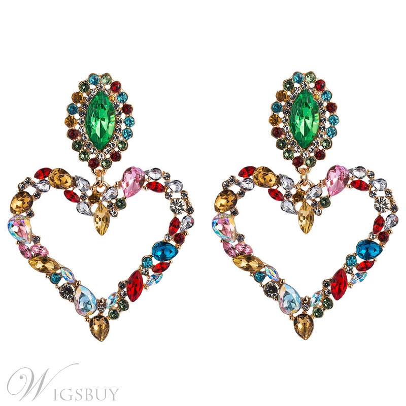 Distinctive Heart-Shaped Drop Earrings For Female