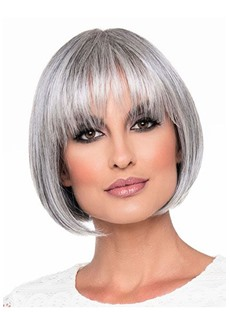 Short Bob Hairstyles Women's Bob Style Blonde Straight Synthetic Hair Capless Wigs 8Inch