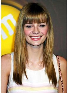 Women's Long Haircuts With Bangs Straight Synthetic Hair Bob Style Capless Wigs 20Inch