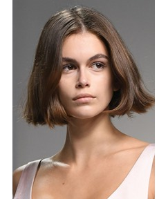 Kaia Gerber Style Women's Short Bob Brown Color Straight Human Hair Lace Front Wigs 10Inch