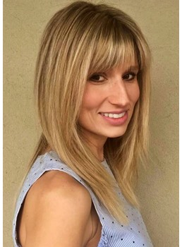 Women's Medium Hairstyles Layered in Blonde Straight Synthetic Hair With Bangs Capless Wigs 16Inch