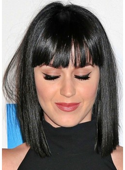 Women's Medium Bob Hairstyle Choppy Shiny Straight Human Hair With Bangs Lace Front Wigs 12Inch