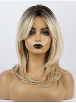 Ombre Blonde Layered Straight Synthetic Wigs With Bangs For American African Women
