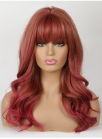 Red-Brown Natural Wavy Synthetic Wigs With Neat Bangs 22 Inches