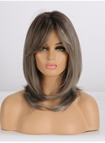 Ombre Grey Layered Synthetic Wigs With Bangs 20 Inches