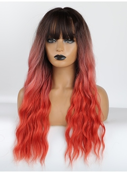 Long Ombre Color Synthetic Hair Wigs With Bangs 26 Inches
