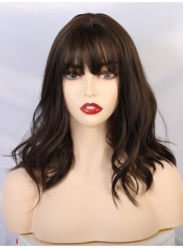 Medium Length Bob Wig With Bangs Women Wig 14 Inches
