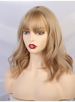 Long Blonde Wavy Bob Wigs With Bangs 14 Inches