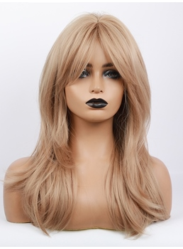 Long Blonde Straight Layered Synthetic Wigs Middle Part With Bangs 24 Inches