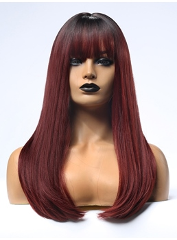 Black Rooted Ombre Red Synthetic Hair Wigs With Bangs For African American Wigs