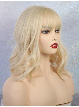 Women's Long Wavy Bob Synthetic Hair Wigs With Neat Bangs 14 Inches