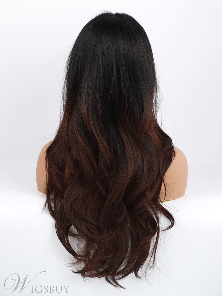 Long Straight Middle Part Black to Brown Ombre Synthetic Hair Wigs 24 Inches