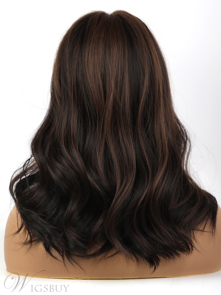 Dark Brown Highlights Wave Synthetic Hair Wigs With Bangs 20 Inches