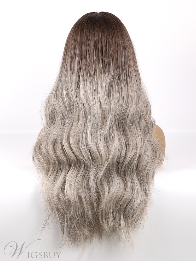Brown Rooted Ombre Grey Hair Middle Part Synthetic Women Wigs 26 Inches