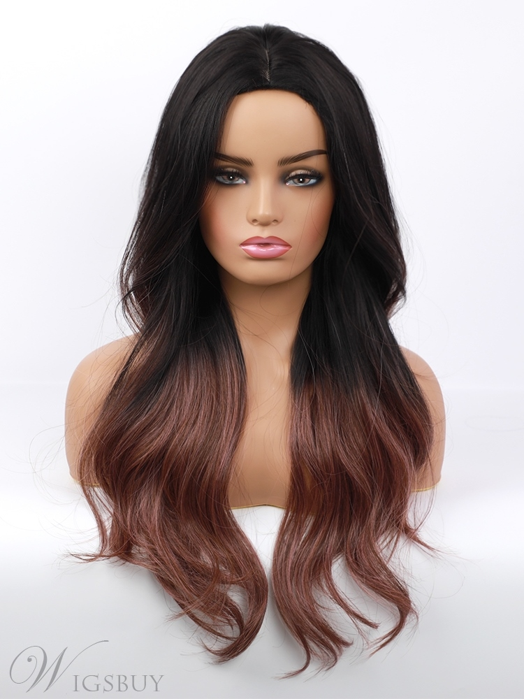 Middle Part Long Layered Synthetic Hair Black to Red Brown Ombre Wig 24 Inches