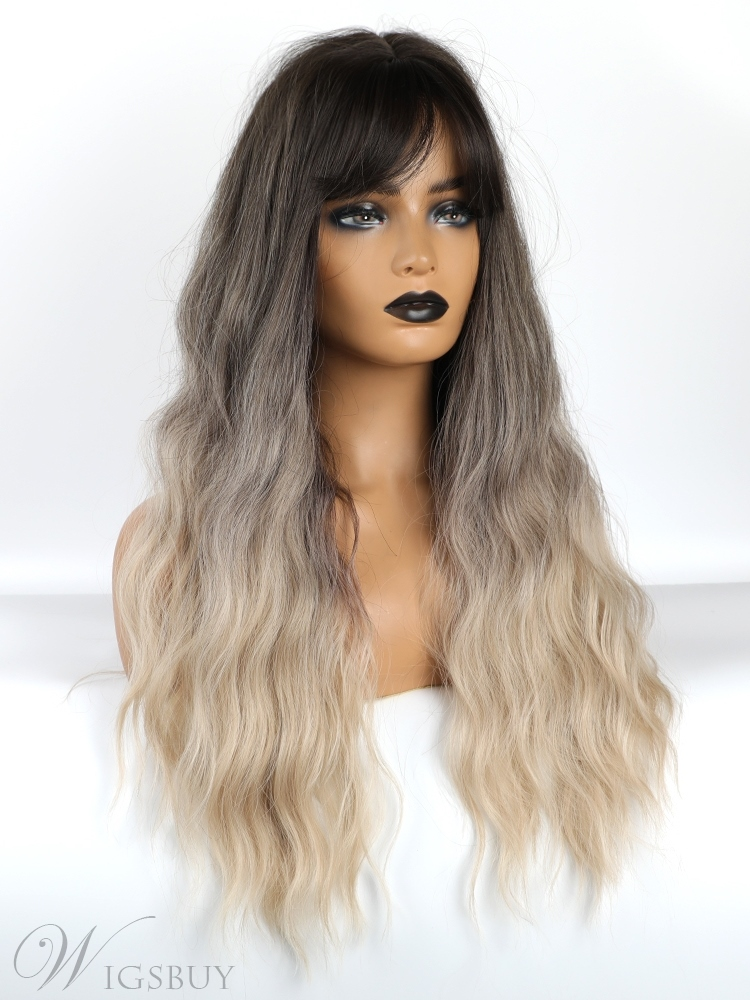 Long Wavy Synthetic Hair Loose Wavy Wigs With Bangs 26 Inches
