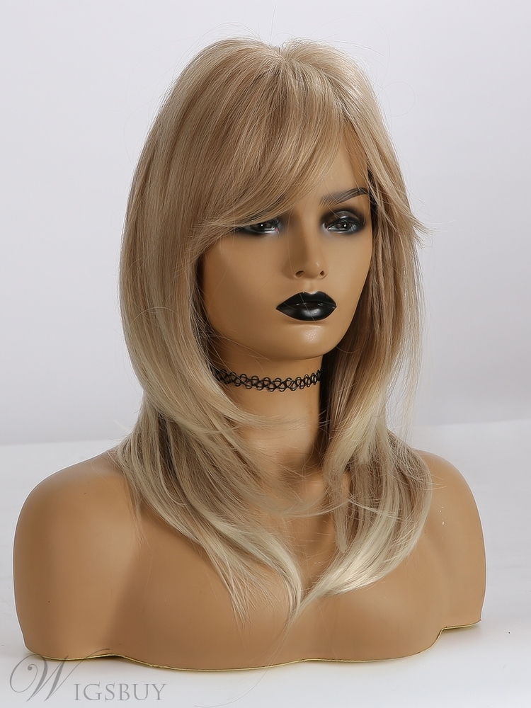 Light Blonde Layered Synthetic Hair Wigs With Bangs 20 Inches