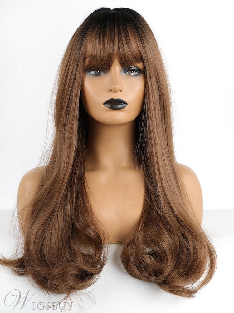 Long Wavy Synthetic Hair Wigs With Bangs